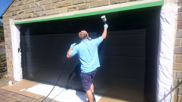 Garage door spraying